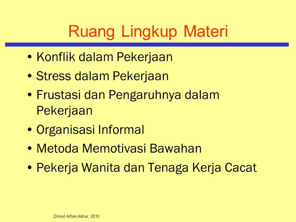 Dinnul Alfian Akbar, 2010 Konflik dalam Pekerjaan Stress dalam Pekerjaan Frustasi dan Pengaruhnya dalam Pekerjaan Organisasi Informal Metoda Memotivasi Bawahan Pekerja Wanita dan Tenaga Kerja Cacat Ruang Lingkup Materi