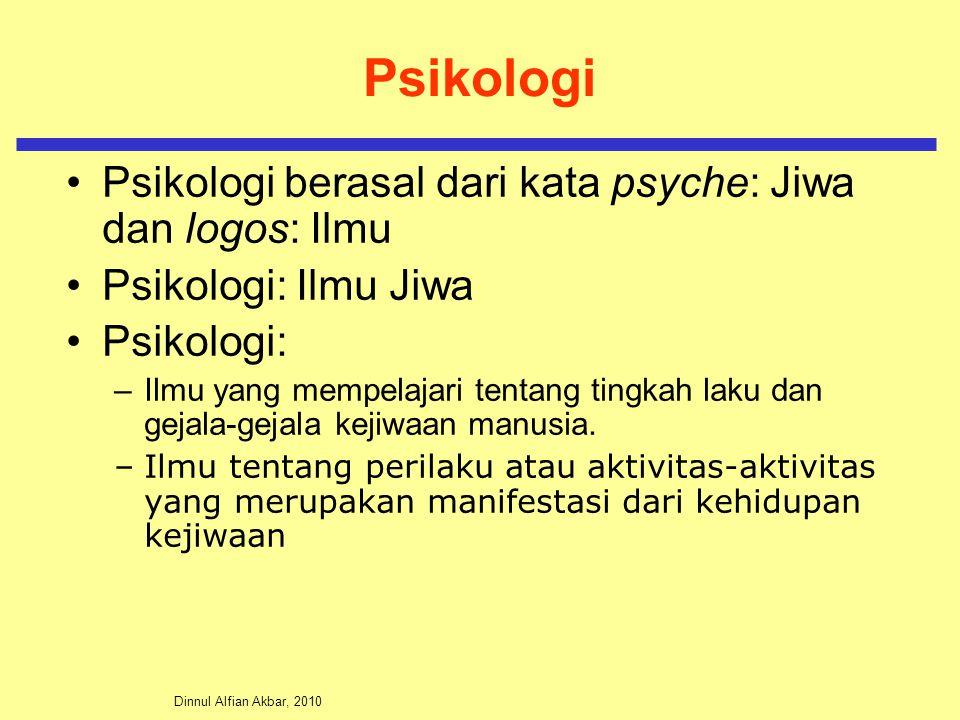 Dinnul Alfian Akbar, 2010 Psikologi Psikologi berasal dari kata psyche: Jiwa dan logos: Ilmu Psikologi: Ilmu Jiwa Psikologi: –Ilmu yang mempelajari tentang tingkah laku dan gejala-gejala kejiwaan manusia.