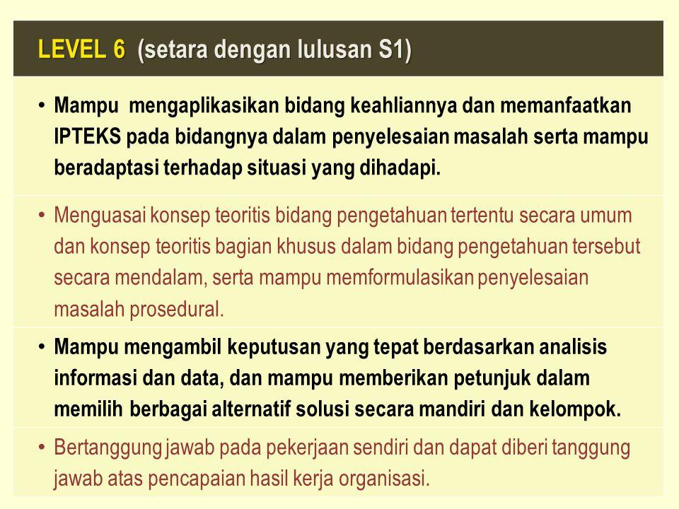 LEVEL 6 (setara dengan lulusan S1) Mampu mengaplikasikan bidang keahliannya dan memanfaatkan IPTEKS pada bidangnya dalam penyelesaian masalah serta ma