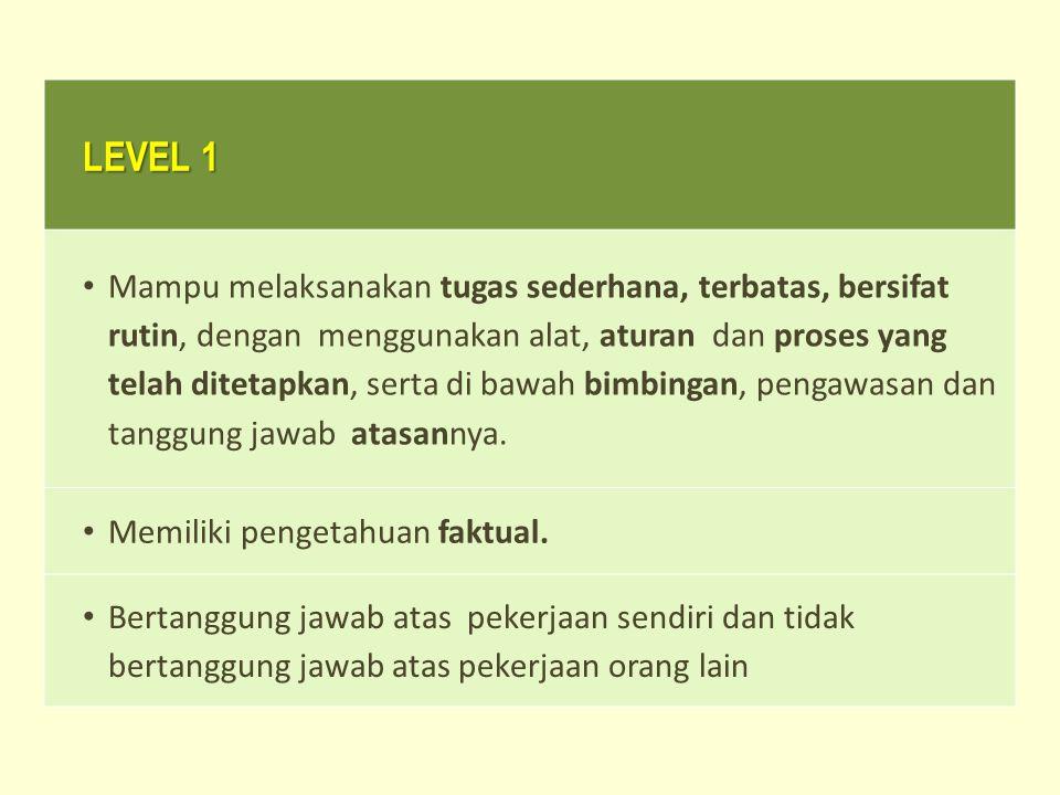 LEVEL 1 Mampu melaksanakan tugas sederhana, terbatas, bersifat rutin, dengan menggunakan alat, aturan dan proses yang telah ditetapkan, serta di bawah