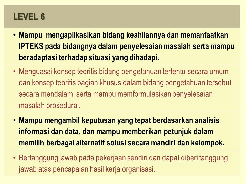LEVEL 6 Mampu mengaplikasikan bidang keahliannya dan memanfaatkan IPTEKS pada bidangnya dalam penyelesaian masalah serta mampu beradaptasi terhadap si