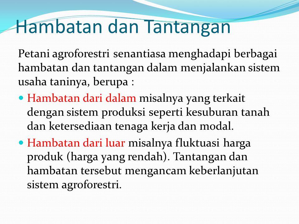 Pengembangan Agroforestri menurut Raintree (1983), Pengembangan agroforestri meliputi tiga aspek, yaitu a.