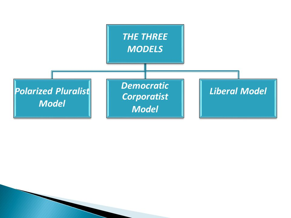 THE THREE MODELS Polarized Pluralist Model Democratic Corporatist Model Liberal Model