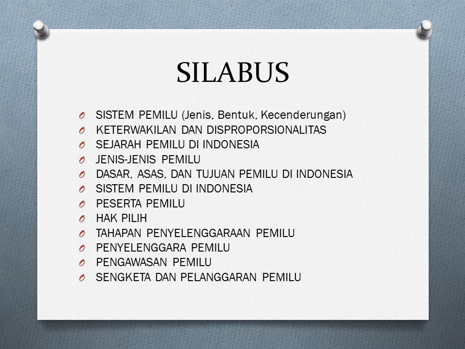 SILABUS O SISTEM PEMILU (Jenis, Bentuk, Kecenderungan) O KETERWAKILAN DAN DISPROPORSIONALITAS O SEJARAH PEMILU DI INDONESIA O JENIS-JENIS PEMILU O DAS