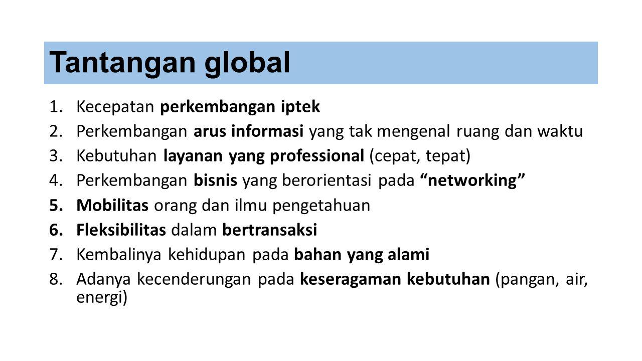 Tantangan global 1.Kecepatan perkembangan iptek 2.Perkembangan arus informasi yang tak mengenal ruang dan waktu 3.Kebutuhan layanan yang professional