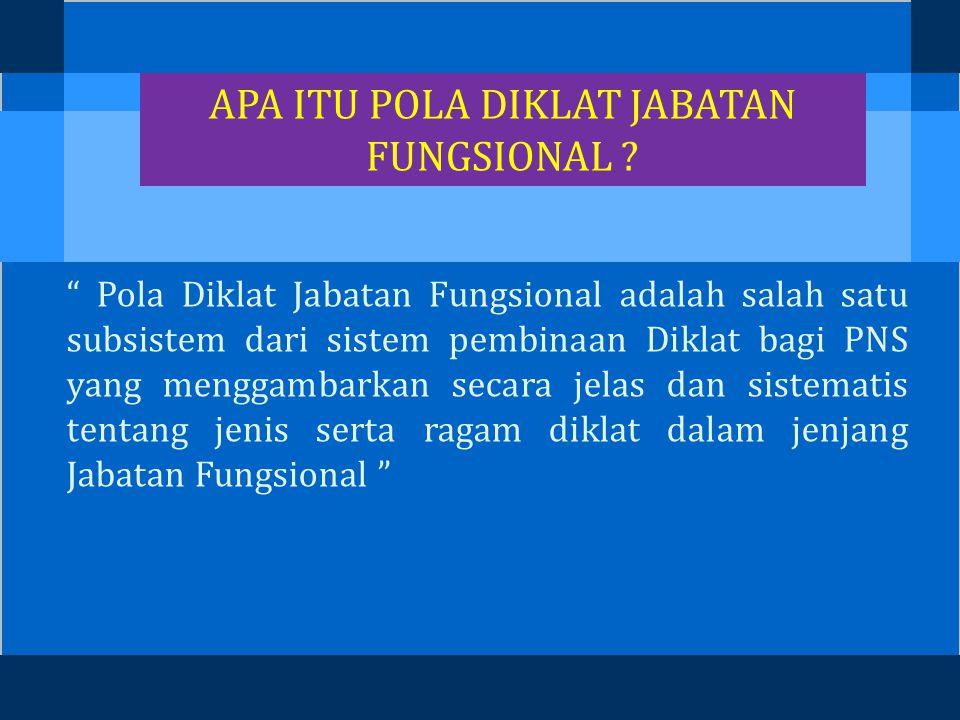 POLA DIKLAT JABATAN FUNGSIONAL BIDANG PERIKANAN Disampaikan Oleh : Dr.