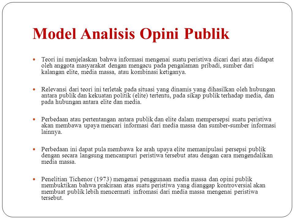 Model Analisis Opini Publik Teori ini menjelaskan bahwa informasi mengenai suatu peristiwa dicari dari atau didapat oleh anggota masyarakat dengan men