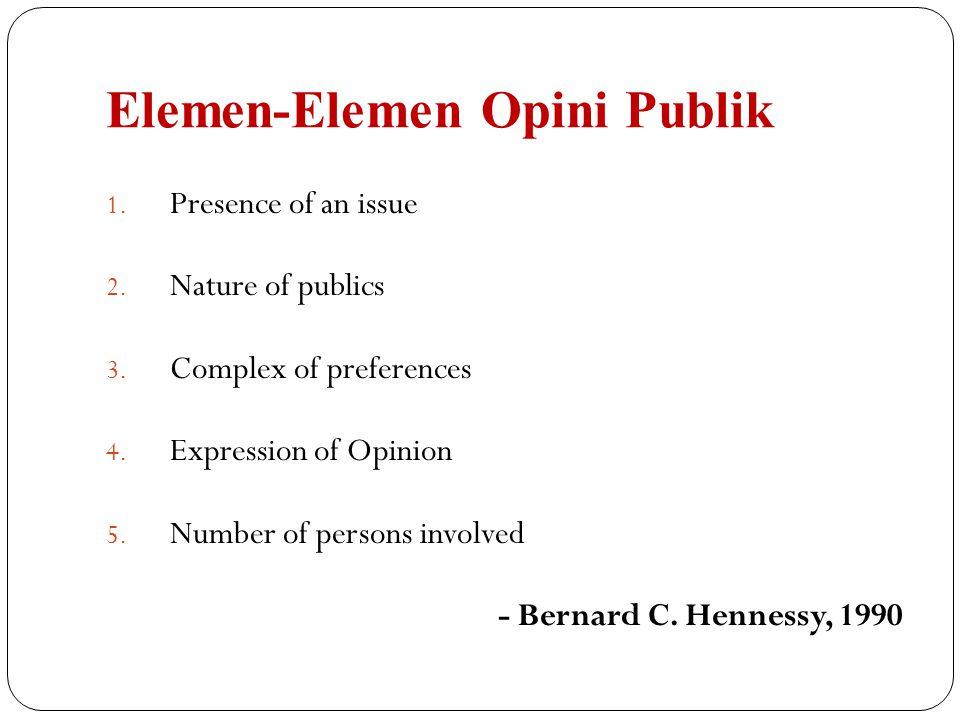 Elemen-Elemen Opini Publik 1.Presence of an issue 2.