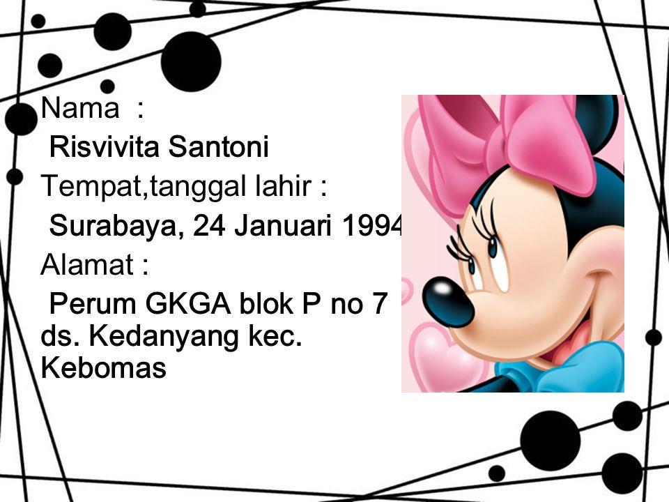 Nama : Risvivita Santoni Tempat,tanggal lahir : Surabaya, 24 Januari 1994 Alamat : Perum GKGA blok P no 7 ds. Kedanyang kec. Kebomas