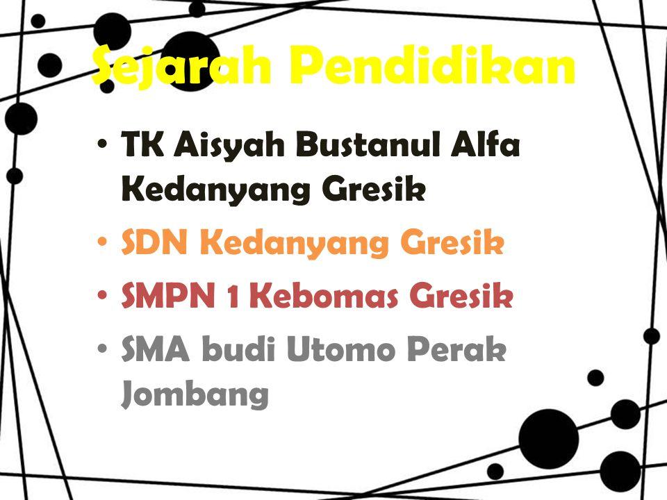 Sejarah Pendidikan TK Aisyah Bustanul Alfa Kedanyang Gresik SDN Kedanyang Gresik SMPN 1 Kebomas Gresik SMA budi Utomo Perak Jombang