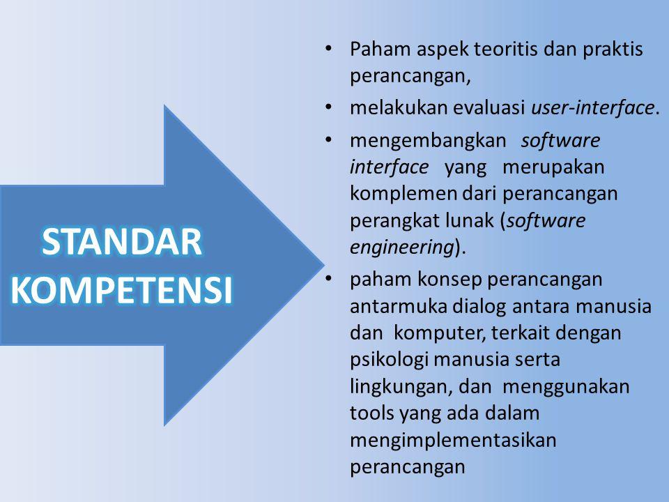 Paham aspek teoritis dan praktis perancangan, melakukan evaluasi user-interface.