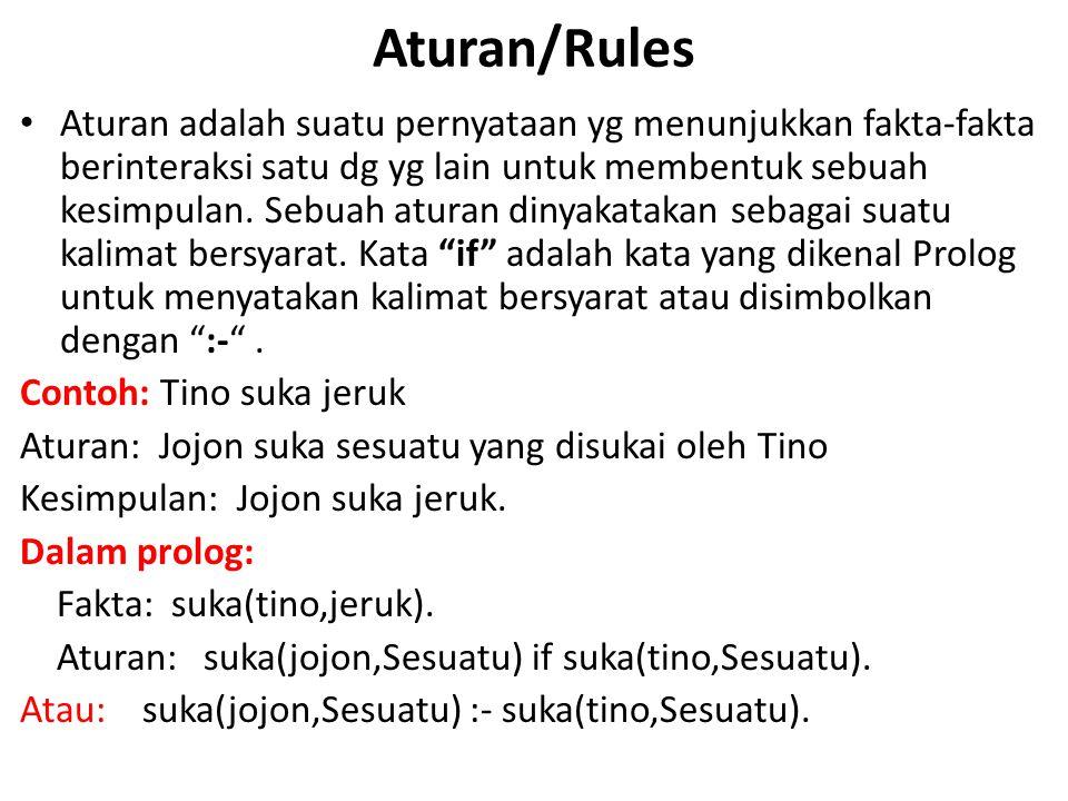 Aturan/Rules Aturan adalah suatu pernyataan yg menunjukkan fakta-fakta berinteraksi satu dg yg lain untuk membentuk sebuah kesimpulan. Sebuah aturan d