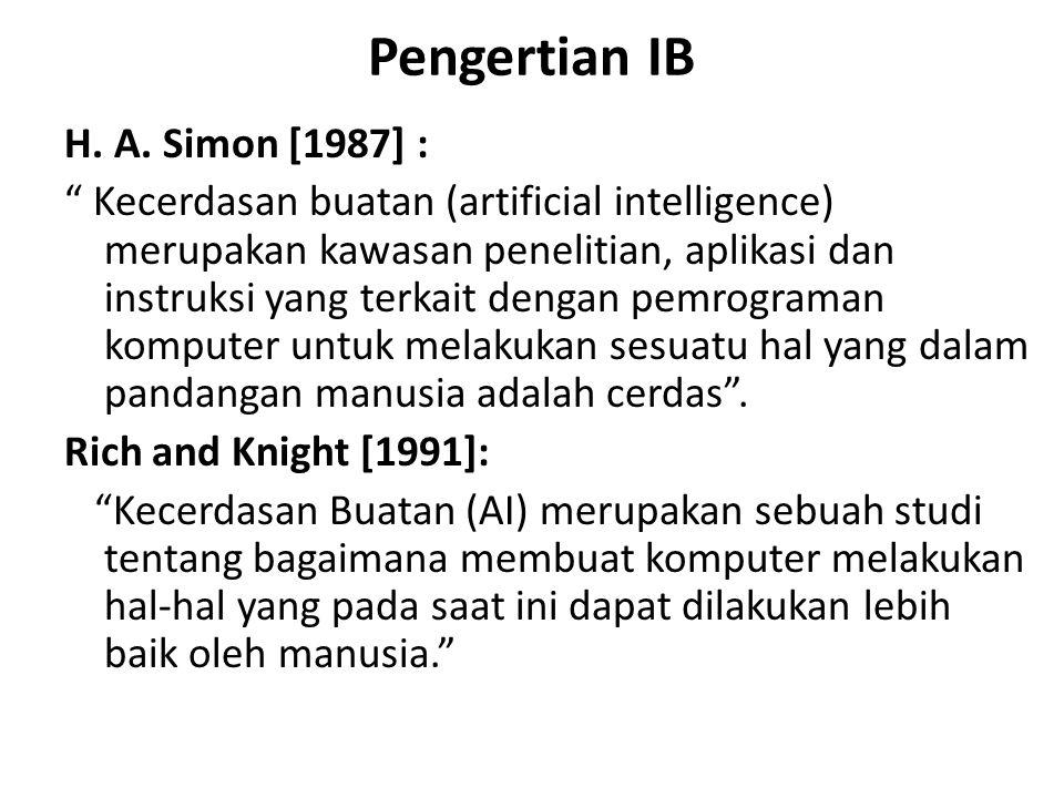 "Pengertian IB H. A. Simon [1987] : "" Kecerdasan buatan (artificial intelligence) merupakan kawasan penelitian, aplikasi dan instruksi yang terkait den"