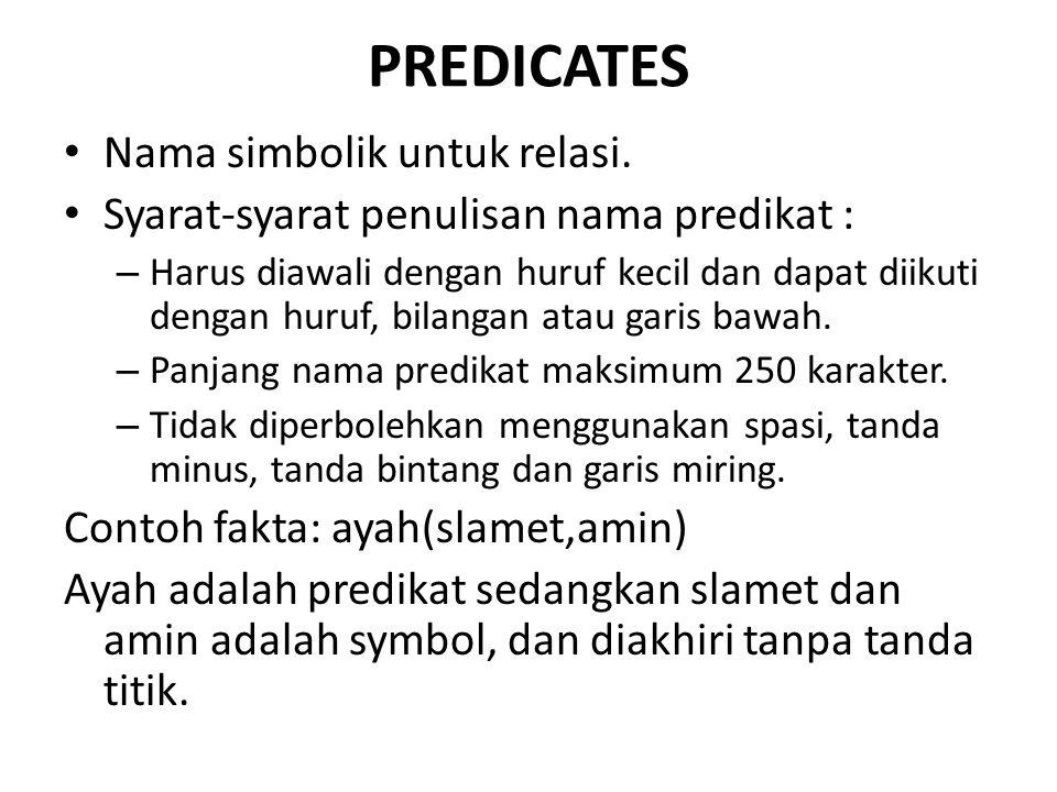 PREDICATES Nama simbolik untuk relasi. Syarat-syarat penulisan nama predikat : – Harus diawali dengan huruf kecil dan dapat diikuti dengan huruf, bila