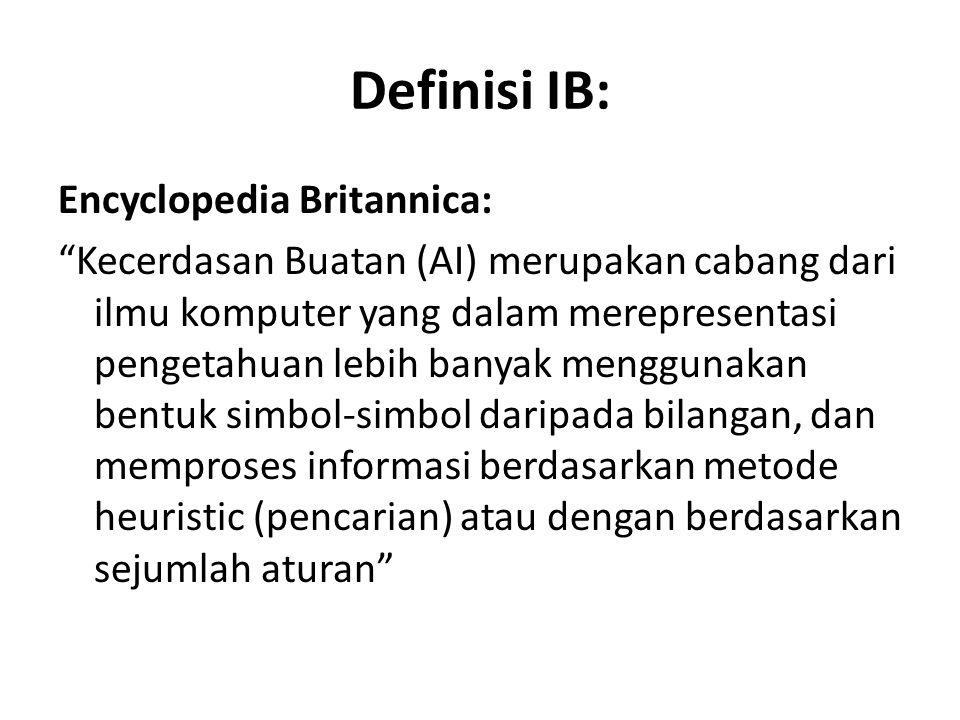 """Definisi IB: Encyclopedia Britannica: """"Kecerdasan Buatan (AI) merupakan cabang dari ilmu komputer yang dalam merepresentasi pengetahuan lebih banyak m"""