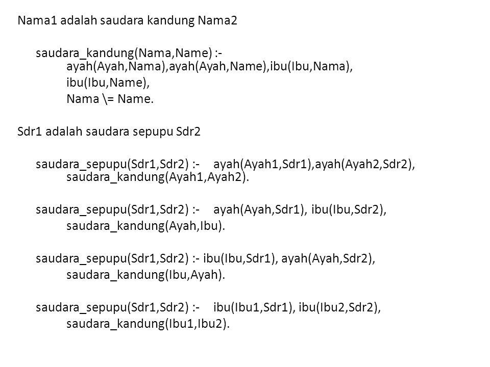 Nama1 adalah saudara kandung Nama2 saudara_kandung(Nama,Name) :- ayah(Ayah,Nama),ayah(Ayah,Name),ibu(Ibu,Nama), ibu(Ibu,Name), Nama \= Name. Sdr1 adal