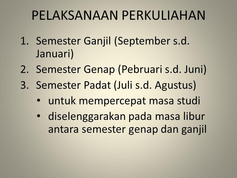 PELAKSANAAN PERKULIAHAN 1.Semester Ganjil (September s.d. Januari) 2.Semester Genap (Pebruari s.d. Juni) 3.Semester Padat (Juli s.d. Agustus) untuk me
