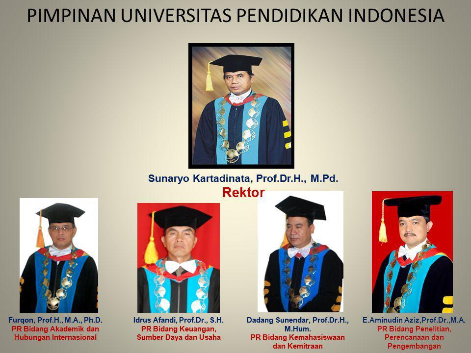 PIMPINAN UNIVERSITAS PENDIDIKAN INDONESIA Furqon, Prof.H., M.A., Ph.D. PR Bidang Akademik dan Hubungan Internasional Idrus Afandi, Prof.Dr., S.H. PR B