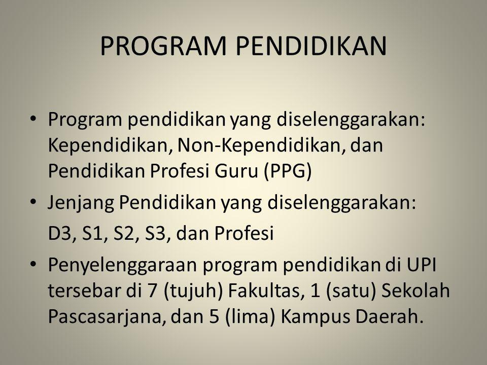 PROGRAM PENDIDIKAN Program pendidikan yang diselenggarakan: Kependidikan, Non-Kependidikan, dan Pendidikan Profesi Guru (PPG) Jenjang Pendidikan yang