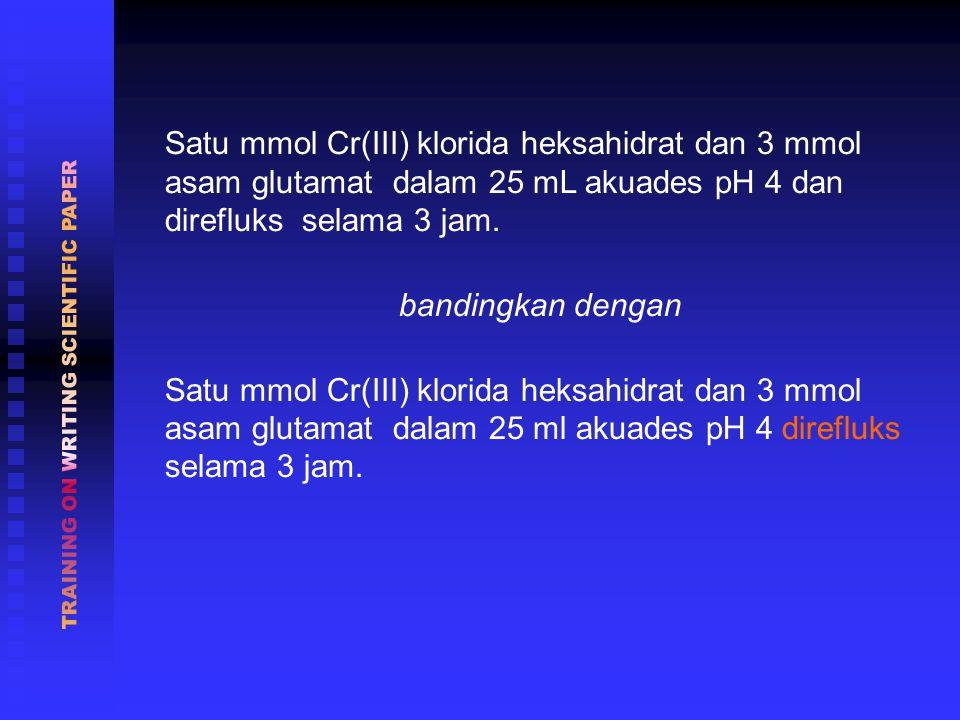 Satu mmol Cr(III) klorida heksahidrat dan 3 mmol asam glutamat dalam 25 mL akuades pH 4 dan direfluks selama 3 jam.