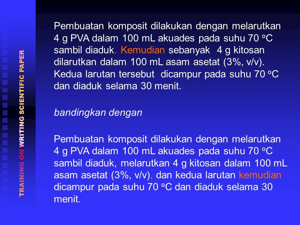 Pembuatan komposit dilakukan dengan melarutkan 4 g PVA dalam 100 mL akuades pada suhu 70 o C sambil diaduk.