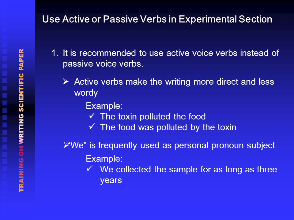 1. It is recommended to use active voice verbs instead of passive voice verbs.