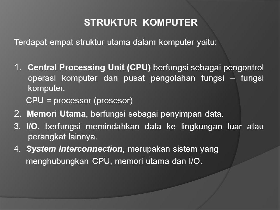 STRUKTUR KOMPUTER Terdapat empat struktur utama dalam komputer yaitu: 1. Central Processing Unit (CPU) berfungsi sebagai pengontrol operasi komputer d