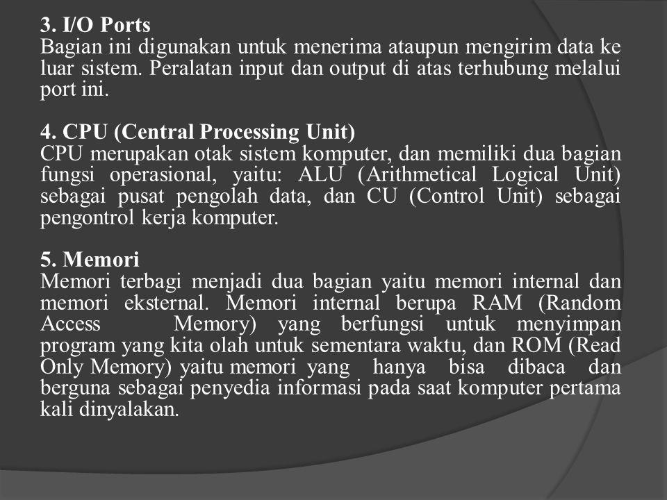 3.I/O Ports Bagian ini digunakan untuk menerima ataupun mengirim data ke luar sistem.