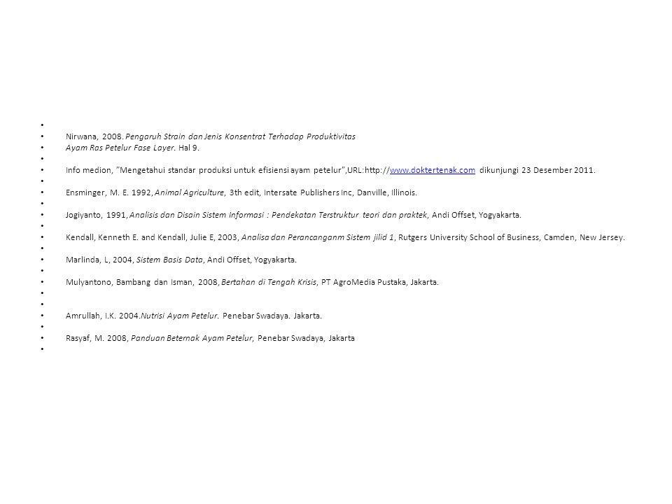 """Nirwana, 2008. Pengaruh Strain dan Jenis Konsentrat Terhadap Produktivitas Ayam Ras Petelur Fase Layer. Hal 9. Info medion, """"Mengetahui standar produk"""