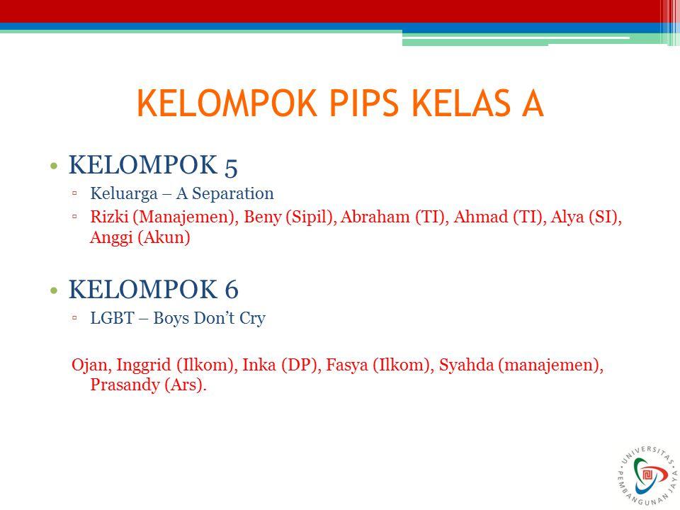 KELOMPOK PIPS KELAS A KELOMPOK 5 ▫Keluarga – A Separation ▫Rizki (Manajemen), Beny (Sipil), Abraham (TI), Ahmad (TI), Alya (SI), Anggi (Akun) KELOMPOK