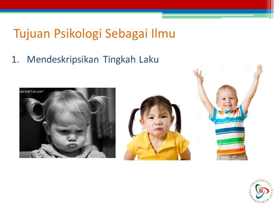 Tujuan Psikologi Sebagai Ilmu 1.Mendeskripsikan Tingkah Laku