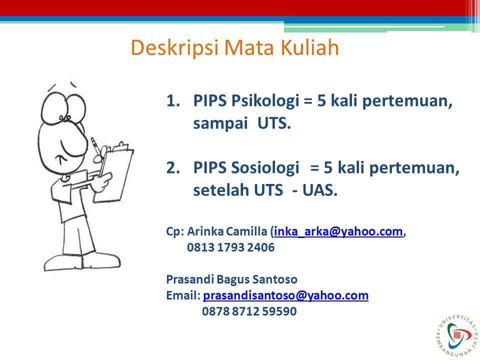 Deskripsi Mata Kuliah 1.PIPS Psikologi = 5 kali pertemuan, sampai UTS. 2.PIPS Sosiologi = 5 kali pertemuan, setelah UTS - UAS. Cp: Arinka Camilla (ink