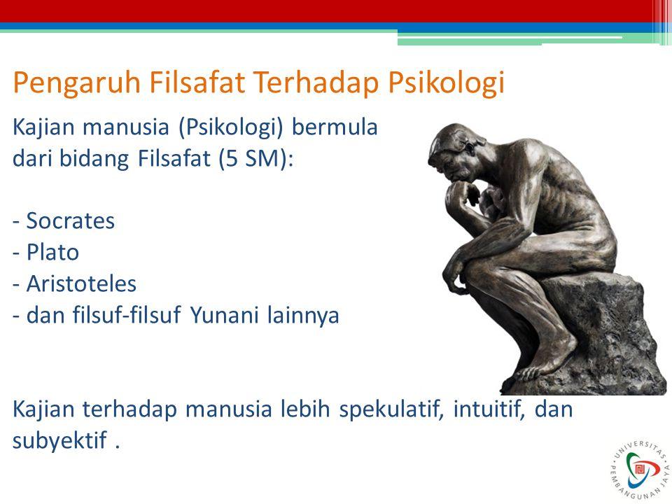 Pengaruh Filsafat Terhadap Psikologi Kajian manusia (Psikologi) bermula dari bidang Filsafat (5 SM): - Socrates - Plato - Aristoteles - dan filsuf-fil