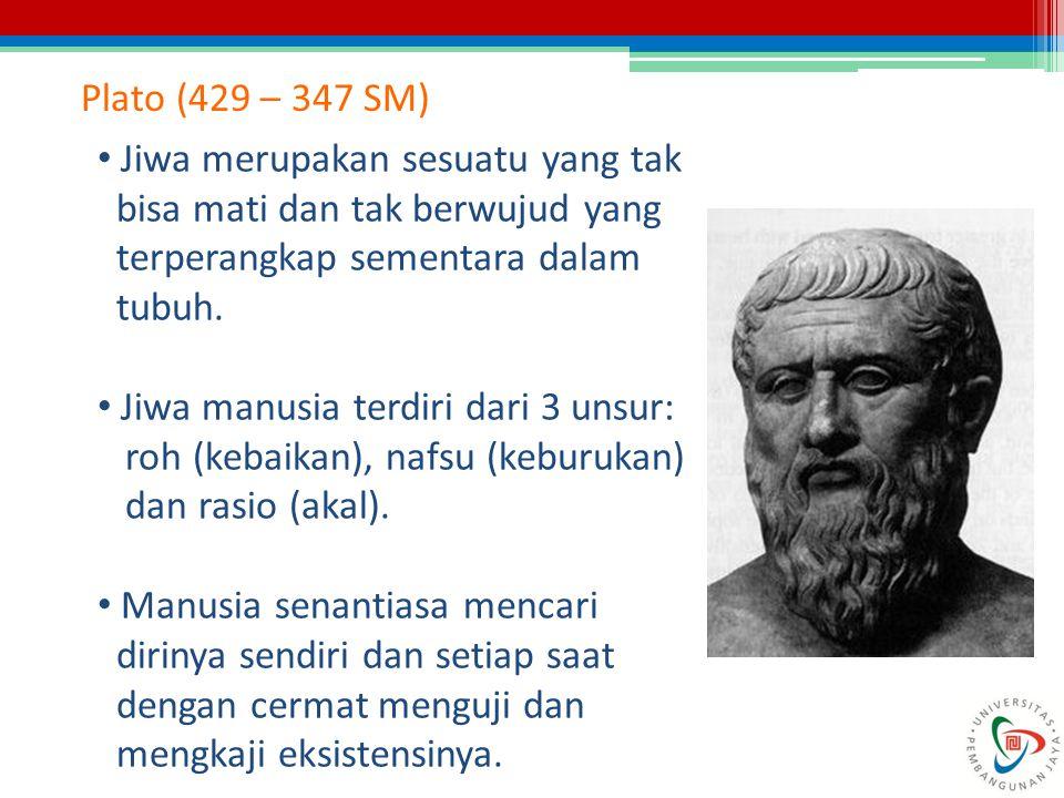 Plato (429 – 347 SM) Jiwa merupakan sesuatu yang tak bisa mati dan tak berwujud yang terperangkap sementara dalam tubuh. Jiwa manusia terdiri dari 3 u