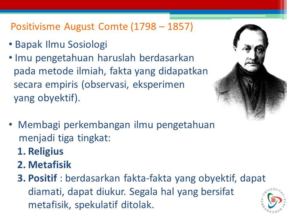 Positivisme August Comte (1798 – 1857) Bapak Ilmu Sosiologi Imu pengetahuan haruslah berdasarkan pada metode ilmiah, fakta yang didapatkan secara empi
