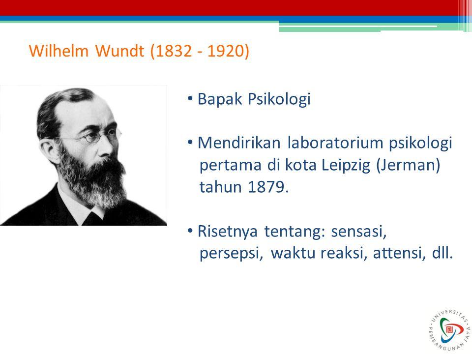 Wilhelm Wundt (1832 - 1920) Bapak Psikologi Mendirikan laboratorium psikologi pertama di kota Leipzig (Jerman) tahun 1879. Risetnya tentang: sensasi,