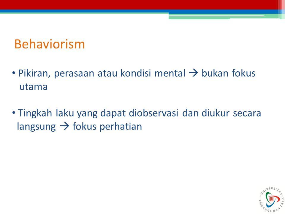 Behaviorism Pikiran, perasaan atau kondisi mental  bukan fokus utama Tingkah laku yang dapat diobservasi dan diukur secara langsung  fokus perhatian