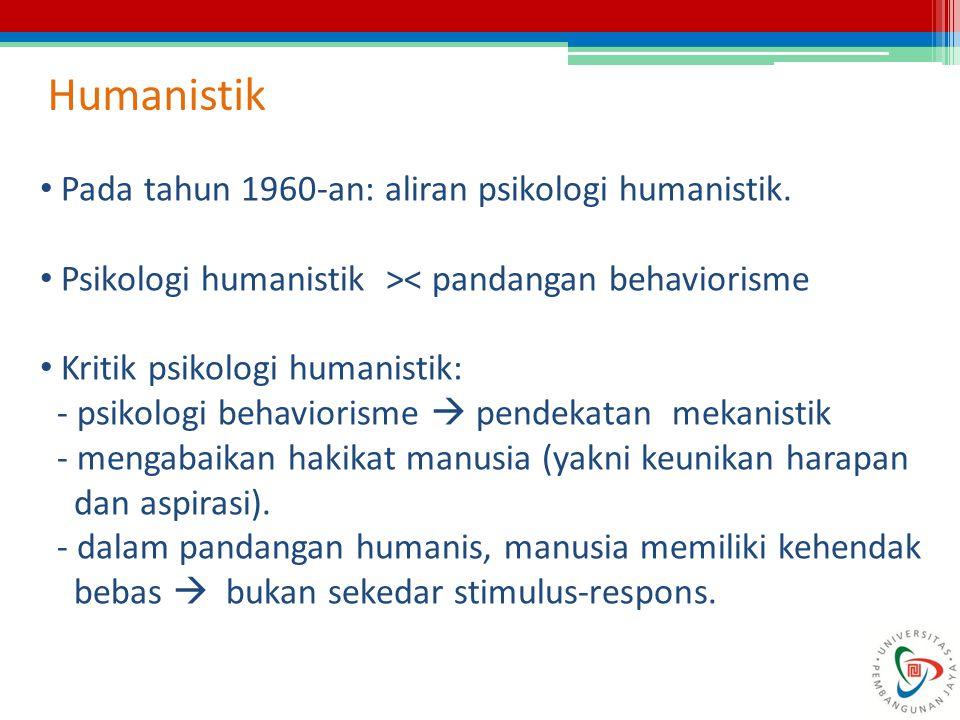 Humanistik Pada tahun 1960-an: aliran psikologi humanistik. Psikologi humanistik >< pandangan behaviorisme Kritik psikologi humanistik: - psikologi be