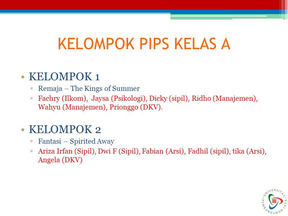 KELOMPOK PIPS KELAS A KELOMPOK 1 ▫Remaja – The Kings of Summer ▫Fachry (Ilkom), Jaysa (Psikologi), Dicky (sipil), Ridho (Manajemen), Wahyu (Manajemen)