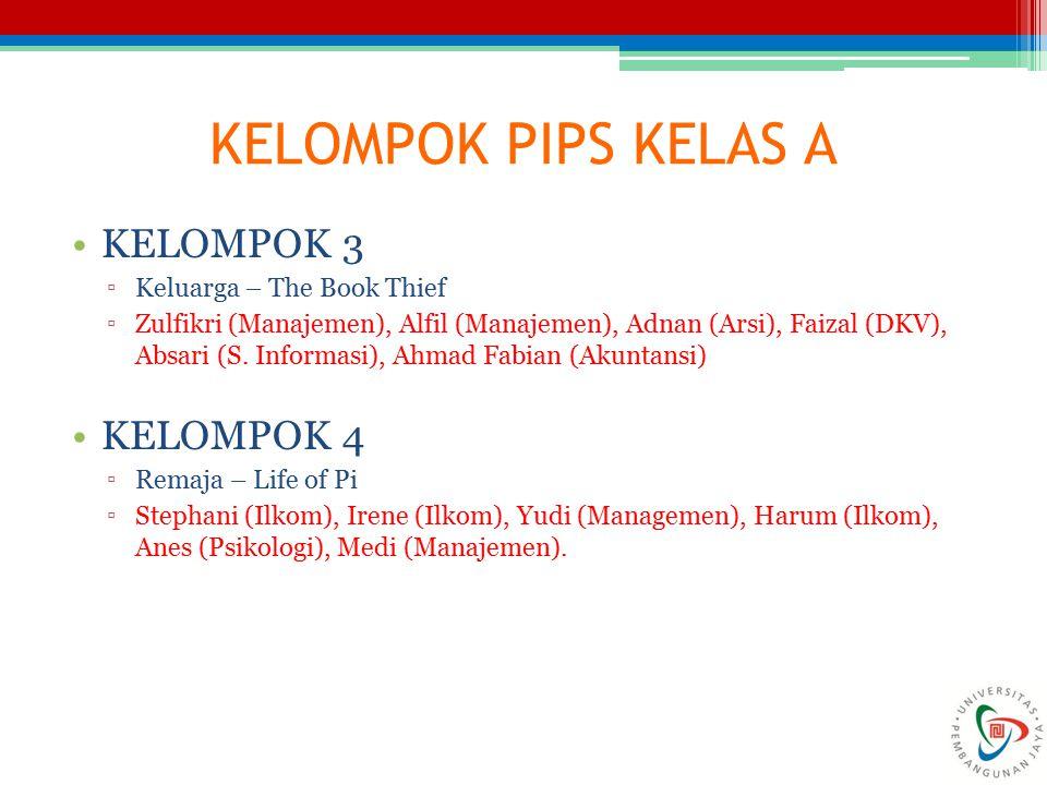KELOMPOK PIPS KELAS A KELOMPOK 3 ▫Keluarga – The Book Thief ▫Zulfikri (Manajemen), Alfil (Manajemen), Adnan (Arsi), Faizal (DKV), Absari (S. Informasi