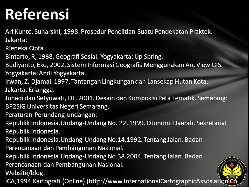 Referensi Ari Kunto, Suharsini, 1998. Prosedur Penelitian Suatu Pendekatan Praktek.