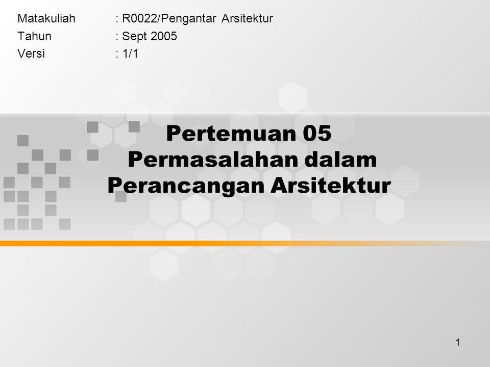 1 Pertemuan 05 Permasalahan dalam Perancangan Arsitektur Matakuliah: R0022/Pengantar Arsitektur Tahun: Sept 2005 Versi: 1/1