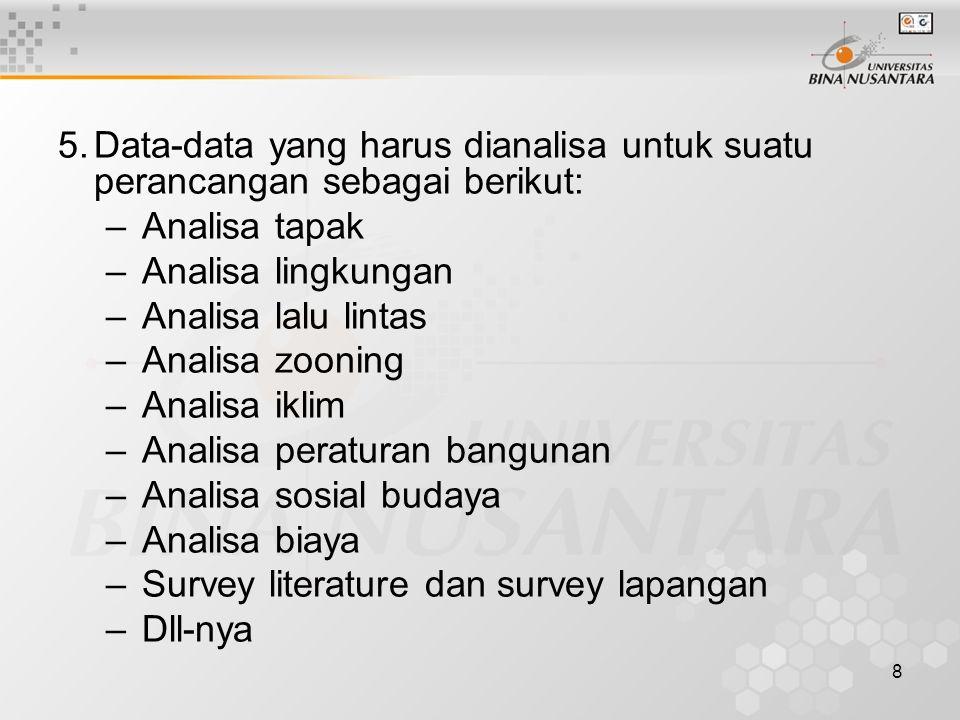 8 5.Data-data yang harus dianalisa untuk suatu perancangan sebagai berikut: –Analisa tapak –Analisa lingkungan –Analisa lalu lintas –Analisa zooning –Analisa iklim –Analisa peraturan bangunan –Analisa sosial budaya –Analisa biaya –Survey literature dan survey lapangan –Dll-nya