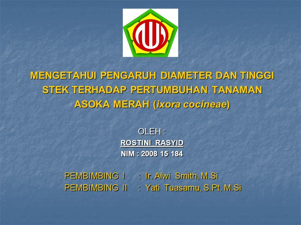 MENGETAHUI PENGARUH DIAMETER DAN TINGGI STEK TERHADAP PERTUMBUHAN TANAMAN ASOKA MERAH (ixora cocineae) OLEH : ROSTINI RASYID NIM : 2008 15 184 PEMBIMB