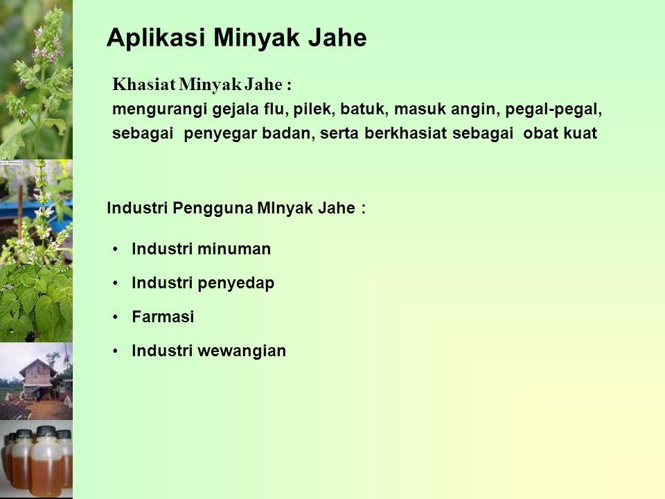 Khasiat Minyak Jahe : mengurangi gejala flu, pilek, batuk, masuk angin, pegal-pegal, sebagai penyegar badan, serta berkhasiat sebagai obat kuat Indust