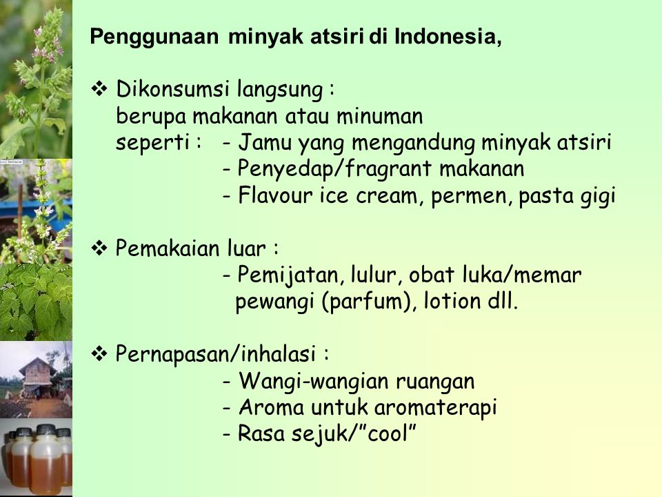 Parameter mutu minyak nilam berdasarkan Standar Nasional Indonesia (SNI) 06-2385-1998 KarakteristikSNI 06-2385-1998 WarnaKuning muda sampai coklat tua Bobot Jenis 20 o C/20 o C0.943 – 0.983 Indeks Bias1.504 – 1.514 Bilangan asamMaksimum 5.0 Bilangan esterMaksimum 10.0 Kelarutan dalam alkohol 90%Larutan jernih dalam perbandingan volume 1 : 1 – 1 : 10 Minyak KruingTidak nyata Minyak lemakNegatif (-) Minyak pelicanNegatif (-)