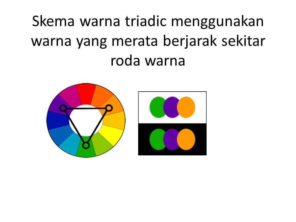 Skema warna triadic menggunakan warna yang merata berjarak sekitar roda warna