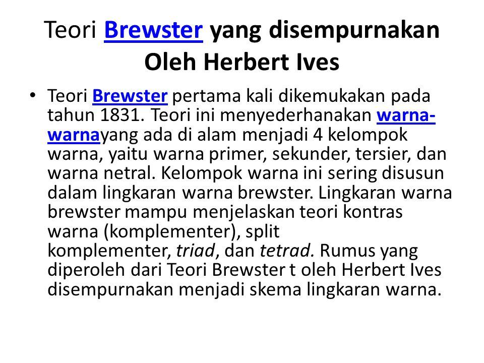 Teori Brewster yang disempurnakan Oleh Herbert IvesBrewster Teori Brewster pertama kali dikemukakan pada tahun 1831. Teori ini menyederhanakan warna-