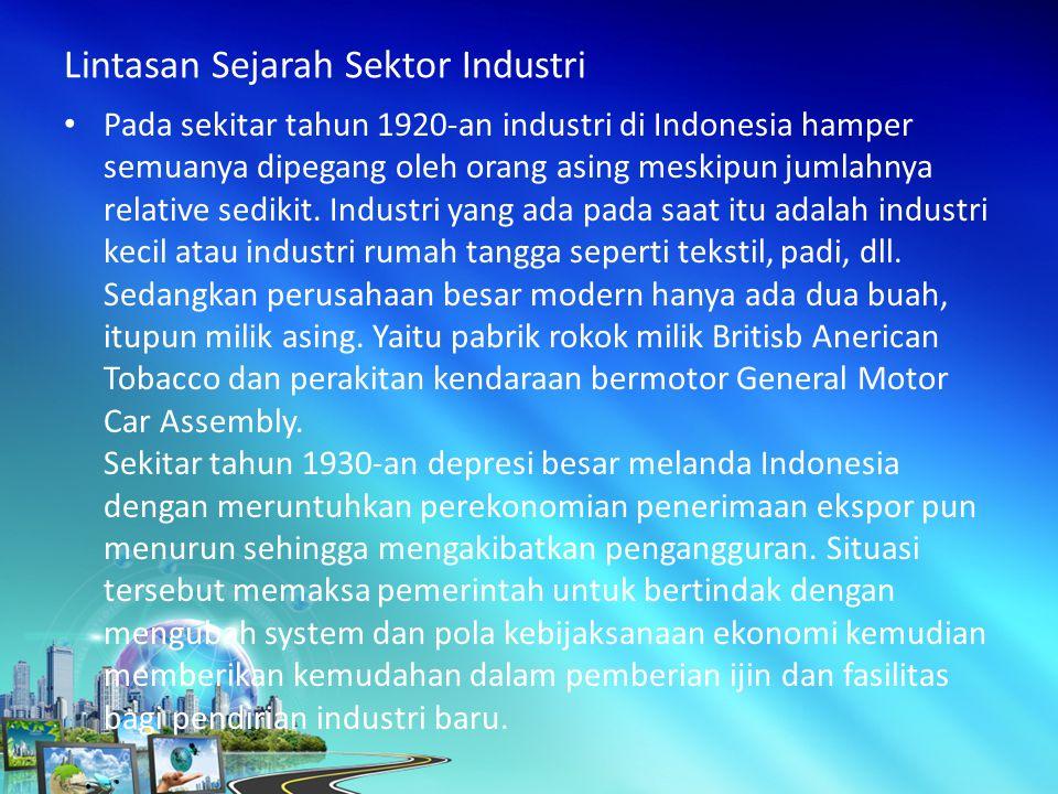 Pada sekitar tahun 1920-an industri di Indonesia hamper semuanya dipegang oleh orang asing meskipun jumlahnya relative sedikit.