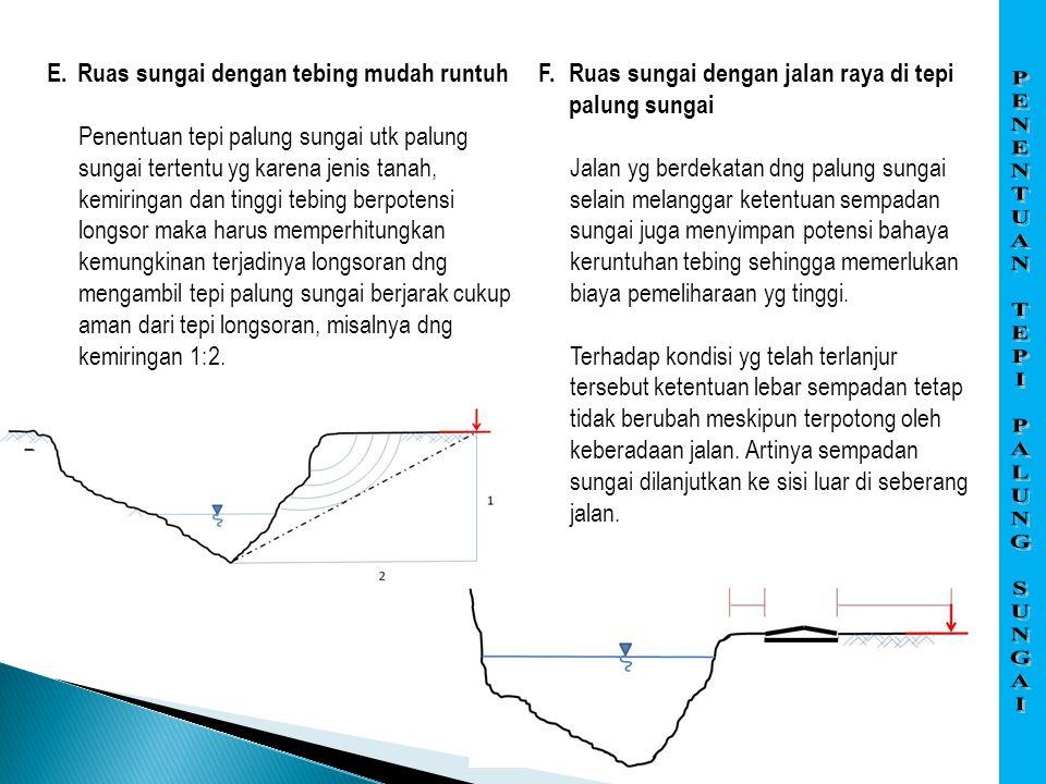 E.Ruas sungai dengan tebing mudah runtuh Penentuan tepi palung sungai utk palung sungai tertentu yg karena jenis tanah, kemiringan dan tinggi tebing b
